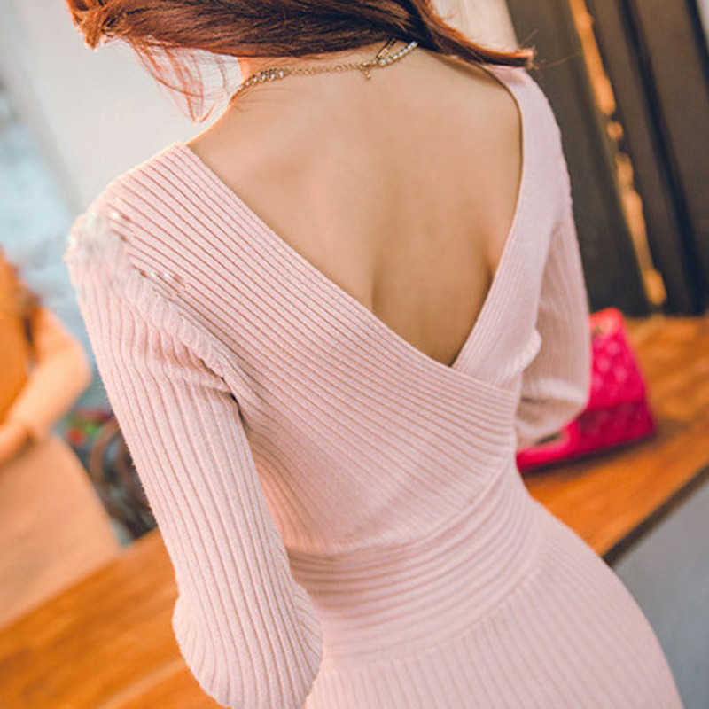 Pink V-neck Knitted Cotton Sweater Dress