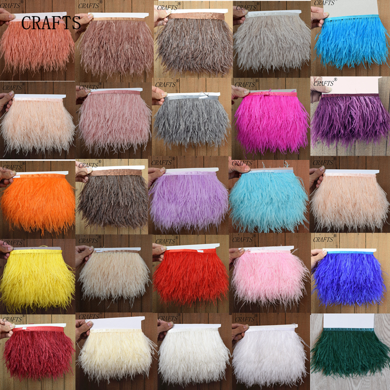 2017 New! Wholesale high quality5- 10 meters ostrich feather ribbon, feather length 8-11cm / DIY clothing accessories