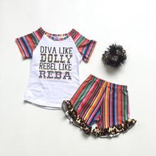 Summer baby girls boutique serape leopard diva rebel shorts cotton outfits children clothes kids wear match accessories ruffles