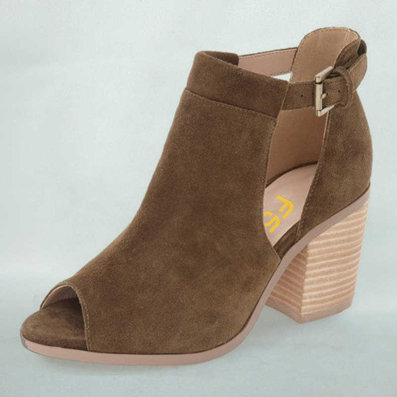 c9bd882d2 ... Retro Women Shoes Handmade Brown Flcok Boots Ankle Buckle Strap Open Toe  Chunky High Heel Wood ...