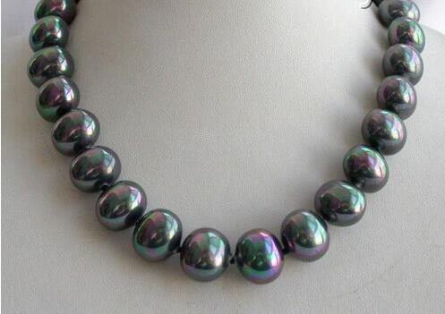Stunning Big 16mm BAROQUE Black Necklace from South Sea Pearl Necklace AAA Style Fine Noble Natural Free Shipping