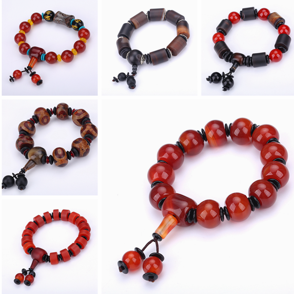 AAA Natural Round Stone Agate Beads Bracelet Healing Crystal Classic Amber Health Beads Elasticity Rope Men Women Bracelet Gifts все цены