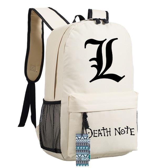 Anime DEATH NOTE L Lawliet Killer Ryuuku Cosplay Printing Backpack Mochila Feminina School Bags for Teenagers