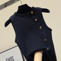 Korean Style Slim Black Single Breasted Knitted Vest 2018 Summer Autumn Woman New Style Metal Button Sleeveless Sweater Cardigan