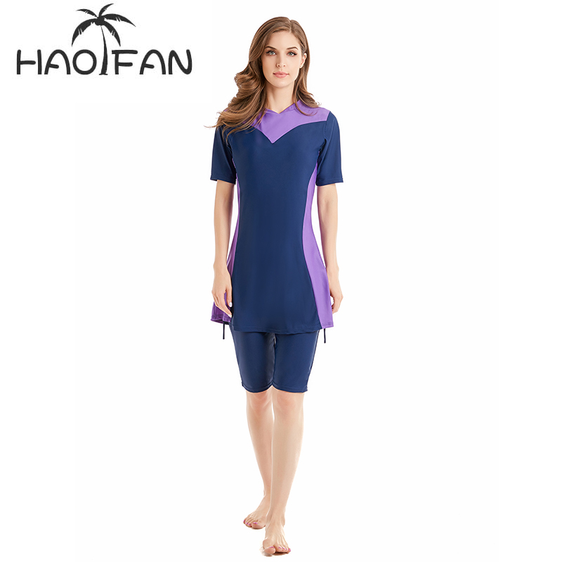 HAOFAN Plus Size Burkinis Islamic Swimwear Women Girls Muslim Swimwear Full Cover Modest Islamic Swimming Suits Muslim Swimwear