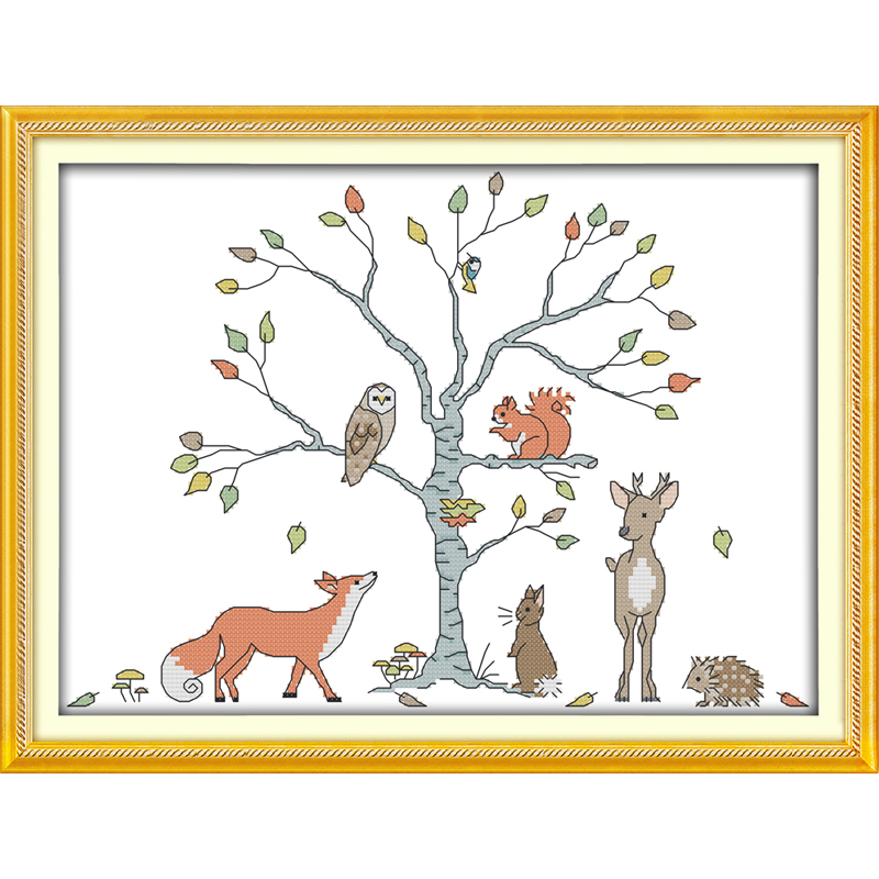 The tree and animals cartoon handmade cross stitch printed on canvas picture wall art decor DIY embroidery set pattern 14ct 11ct image