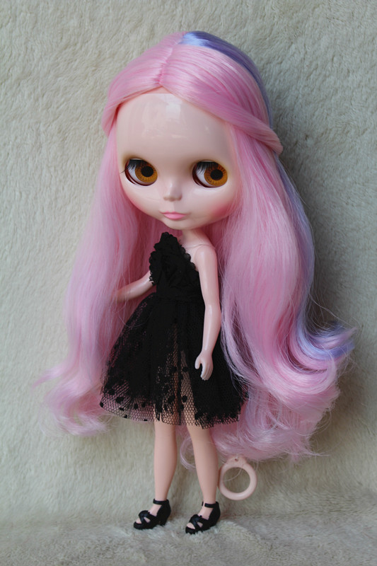 Blygirl Blyth doll Pink purple mixed curly hair 30cm ordinary body nude doll DIY for their own makeup can be used with the body все цены