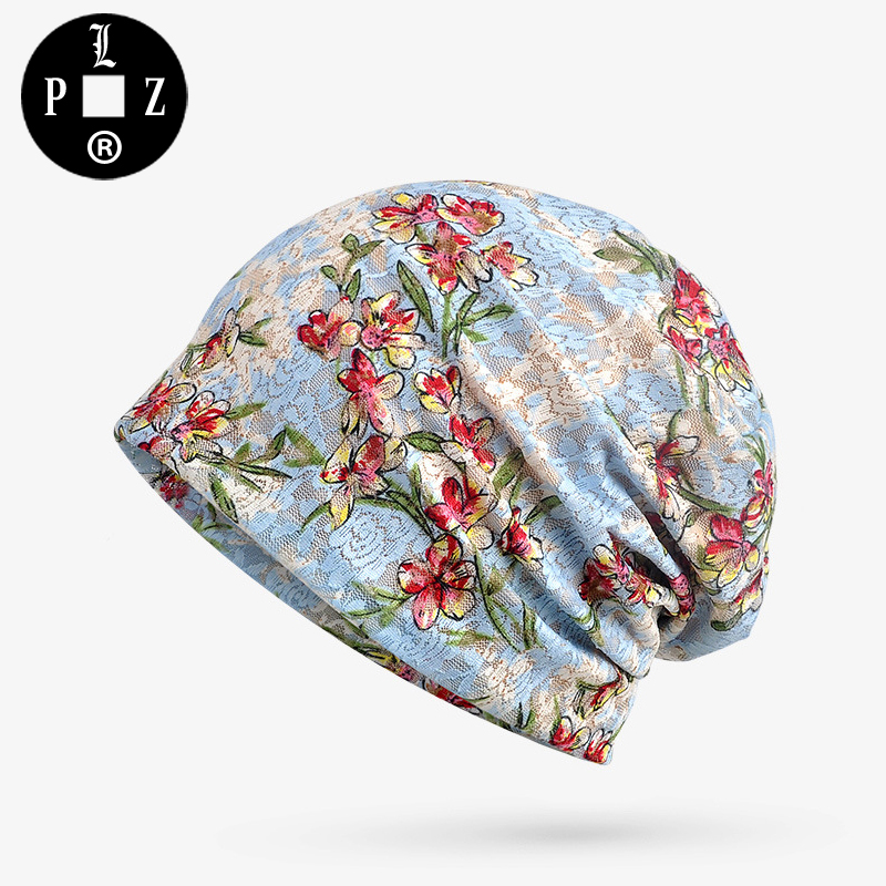 PLZ Floral Jacquard Beanies Lace Cotton Beanie Hat women Fashion Summer Sun Hat With Modal Inner Sky Blue fashion cotton butterfly pattern lace hollow jacquard hats for women summer elastic thin soft breathable beanie skullies hat
