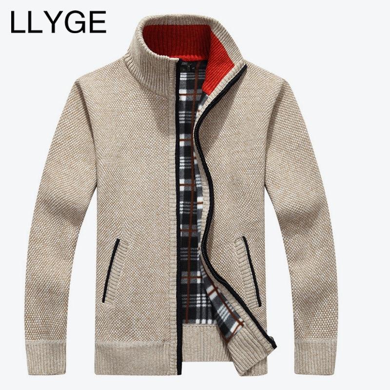 2018 Autumn Winter Men Warm Cardigan Sweatercoat Casual Loose Stand Neck Wool Sweaters Coat Man Zipper Thick Knittwear Plus Size