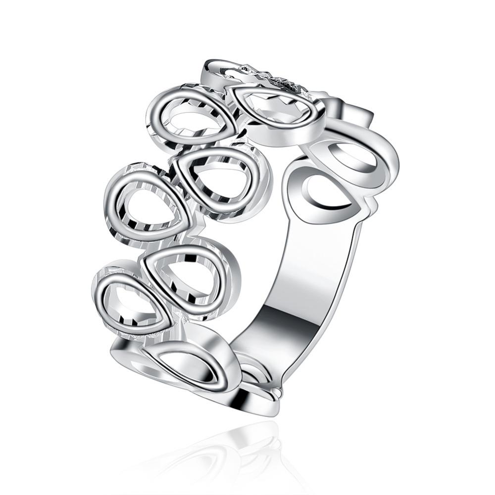 2018 New 925 silver jewelry cute many small drop link cross wide thick smooth finger ring for women wedding classic jewelry