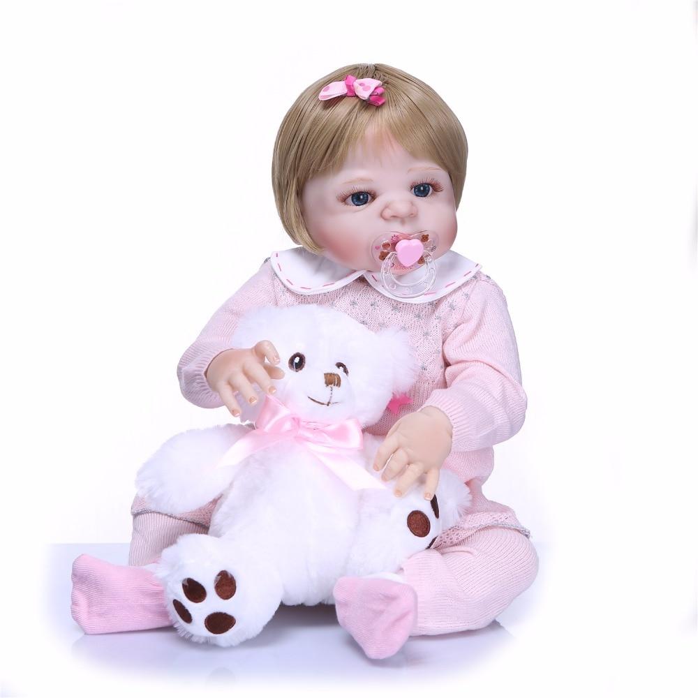 NPK 55 centimetri Newarrival bambola Realistica del Silicone Pieno Bambola Del Bambino Rinato In Vendita Realistico Bebe Alive Dolls Bambini Compagno di Giochi di Natale regali-in Bambole da Giocattoli e hobby su  Gruppo 2