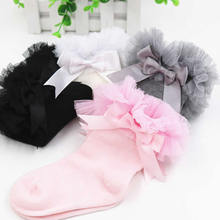 Infant Newborn Toddler Baby Girls Princess Bowknot Lace Floral Short Socks Kids Cotton Ruffle Frilly Trim Ankle Socks fashion