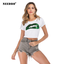 NEEDBO Sexy Crop Top t shirt Women Summer Print Lips Short Sleeve Casual Dance Tshirts for Slim T-Shirt Femme Tops
