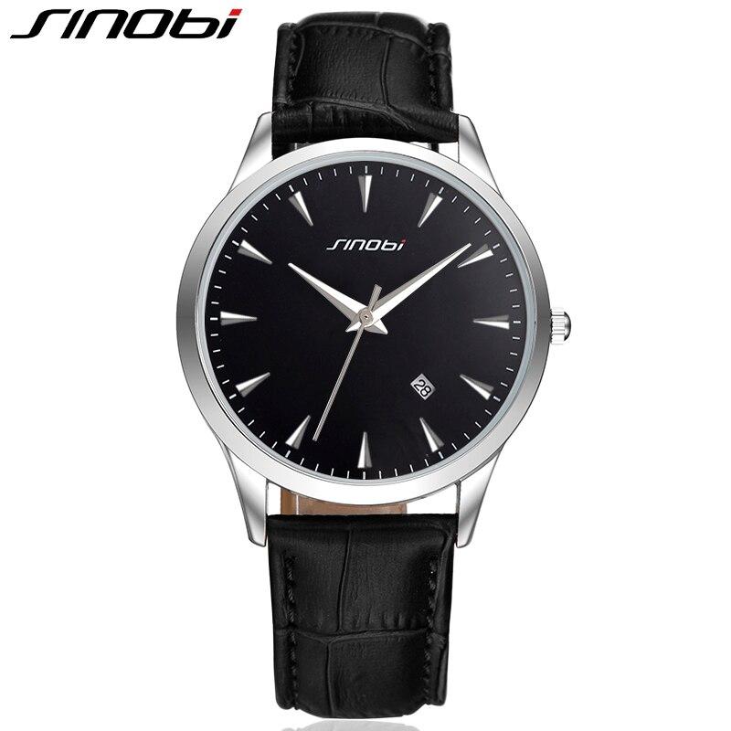 72051a118f6 SINOBI Mens Relógios Top Marca de Luxo Ultra Slim Calendário Mostrador do  Relógio de Quartzo Homens de Negócios 2019 Couro Banda Relogio masculino em  ...