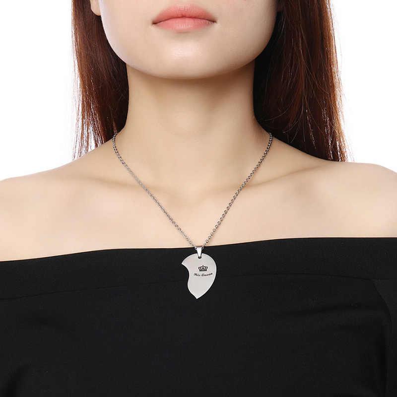 Vnox его queen ее король корона пара Цепочки и ожерелья для Для женщин Для мужчин кулон сердце Нержавеющаясталь влюбленный свадьба ювелирные изделия подарок для Него
