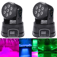 7LED 105W RGBW 9/14 Channel DMX512 Mini Rotating Head Moving Stage Light Effect Lamp Dj Light for Indoor Disco KTV Club Party