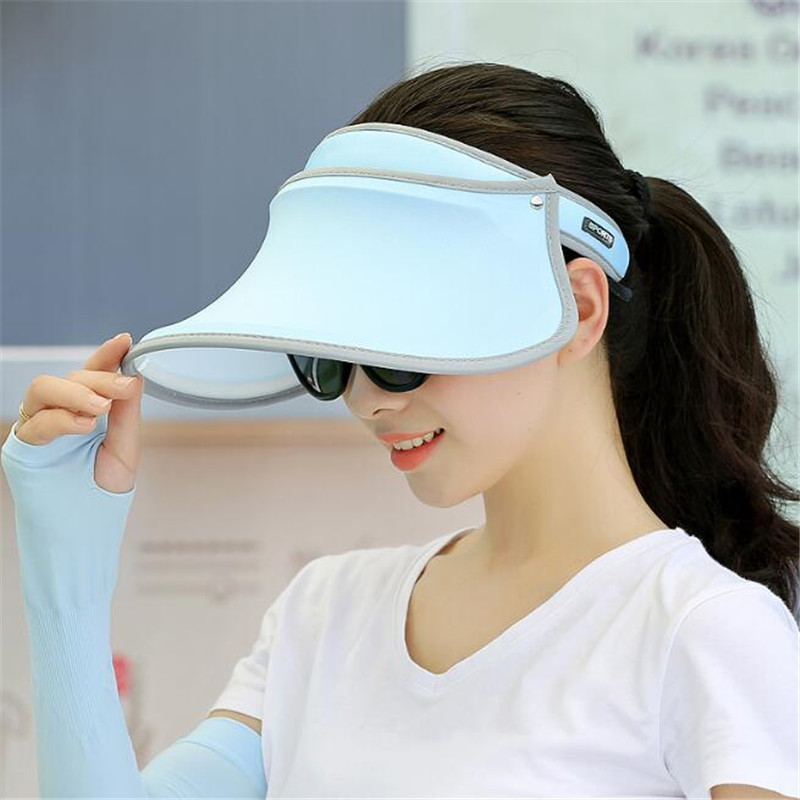 300p Women Sun Hat Wide Brim Anti-UV Female Sunscreen Shade Hat High Elastic Girl Summer Empty Top Visor Cap Fishing Running Cap