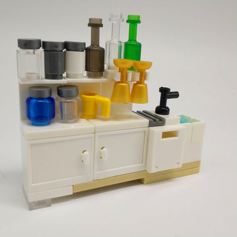 City Series DIY Mini Kitchen Cabinet Model Brick Bottle with Cup Building Blocks Kitchenware Accessories Brick Toys for Children new building blocks ninja emmet wyldstyle sheriff gordon zola bad cop robo swat brick toys for children l009 016