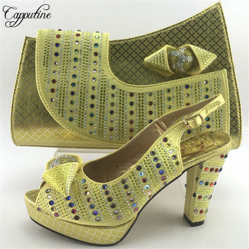 Capputine Gold Color Italian Design Shoes With Matching Bag Set Hot Selling African Women High Heels Shoes And Bag Set ME7716 capputine african shoes and bag matching set with crystal hot selling women italian shoes and bag set for wedding dress bl735c