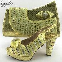 Capputine Gold Farbe Italienische Design Schuhe Mit Passender Tasche Set heißer Verkauf Afrikanische Frauen High Heels Schuhe Und Tasche Set ME7716