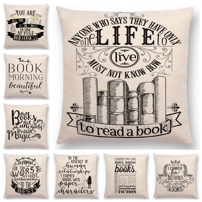 Black And White Style Cushion Cover Reading Books Decorative Letters Warm Phrase Car Pillow Case