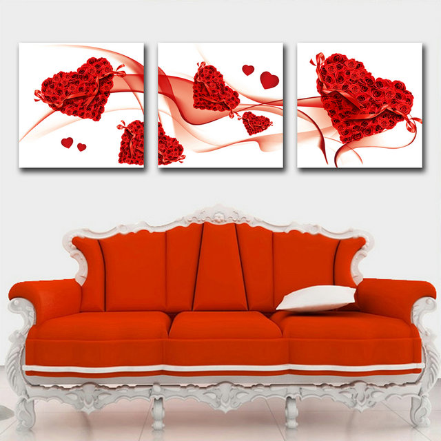 3 Piece Canvas Wall Art Wall Pictures Modern Wall Painting Red Rose ...