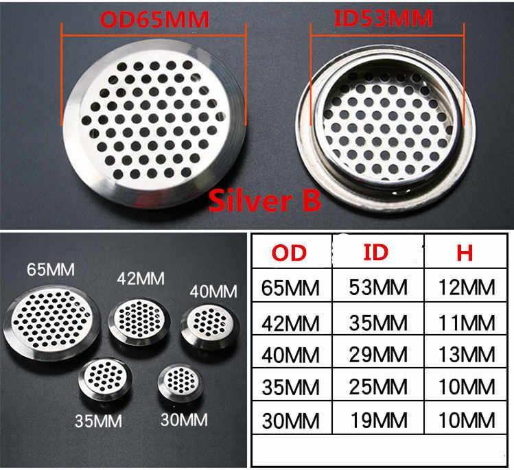 Rejilla Ventilacion Acero Inoxidable Redondas 20pcs53mm+2pcs35mm Rejilla de Ventilaci/ón para Ba/ño Gabinete del Zapato Armario Mueble TV Caj/ón