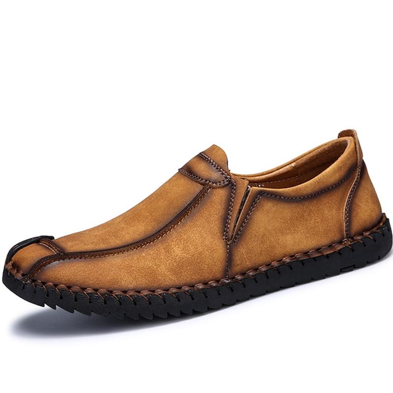 Mocassins brown Pour Main Cuir khaki Appartements Confort Haute Botines Qualité Hommes Robe Casual Glissement Sur Mâle Hombre Chaussures Noir En Black jLAR354q