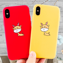 Fashion Mobile Phone Cases for iPhone X XS MAX XR 6 s 7 8 Plus Case Cute Deer Soft Silicone Fitted Cell Cover Accessories