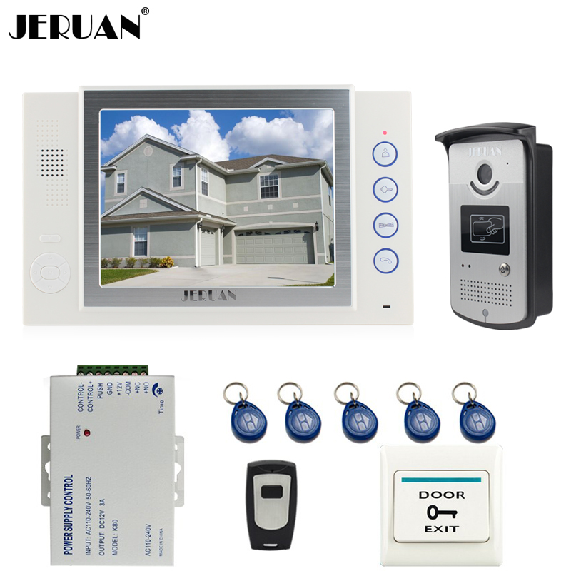 JERUAN 8`` video door phone doorbell intercom system home access control system RFID video recoreding photo taking 8 inch video door phone doorbell intercom system home access control system rfid video recoreding and photo storage and playback