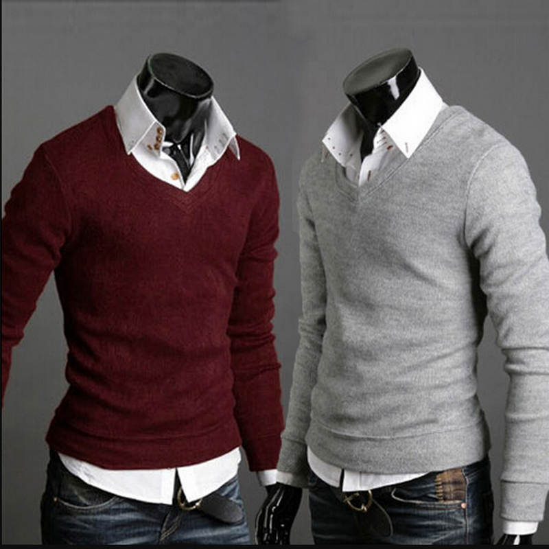 2018 V-Neck Sweaters Stylish Knitted Long Sleeve Men Sweater Male Solid Bottoming Sweaters Pullover 7 Colors