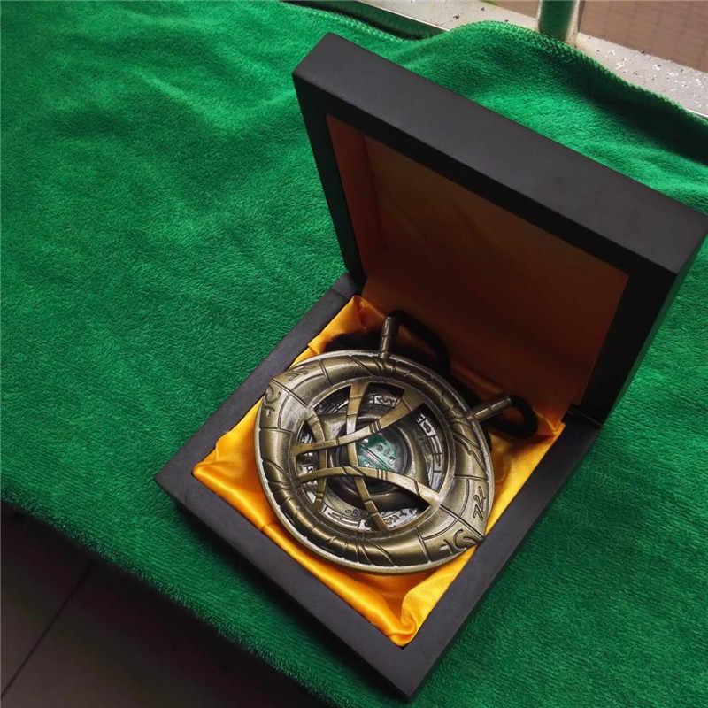 1/1 Dr docteur étrange oeil d'agamotto amulette Cosplay pendentif collier lumière LED Cosplay accessoires avec cadeau boîte en bois