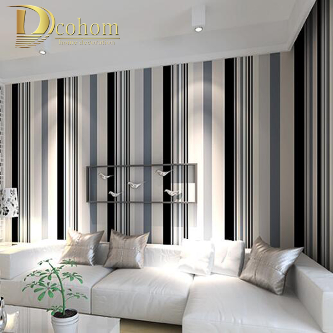Modern Black And White Grey Vertical Stripes Wallpaper Tv Room