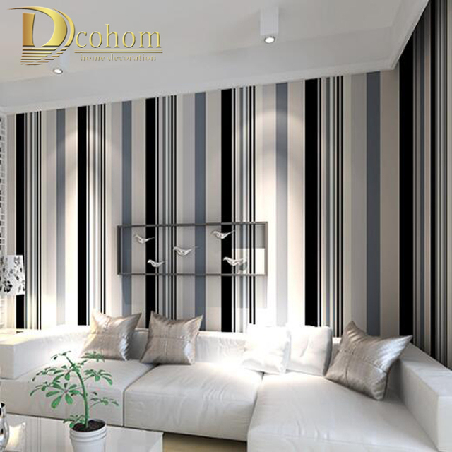 Modern Black And White Grey Vertical Stripes Wallpaper TV Room ...