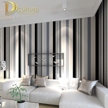 Modern Black And White Grey Vertical Stripes Wallpaper TV Room Living Room Paper Wall Decor Simple Striped Wall paper R295(China)