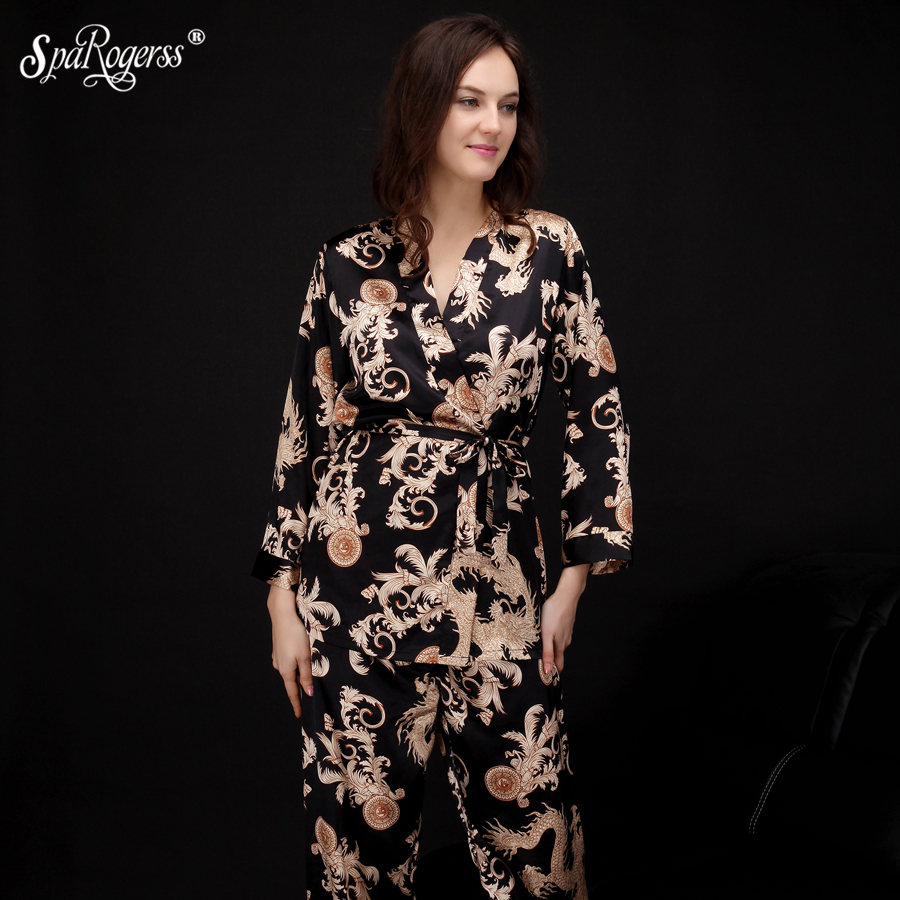 SpaRogerss 4XL Extra Large Robe   Pajama     Sets   Women Pants Female New Sleep Lounge Chinese Dragon Luxury 4 in 1 Woman   Pajamas   DM013