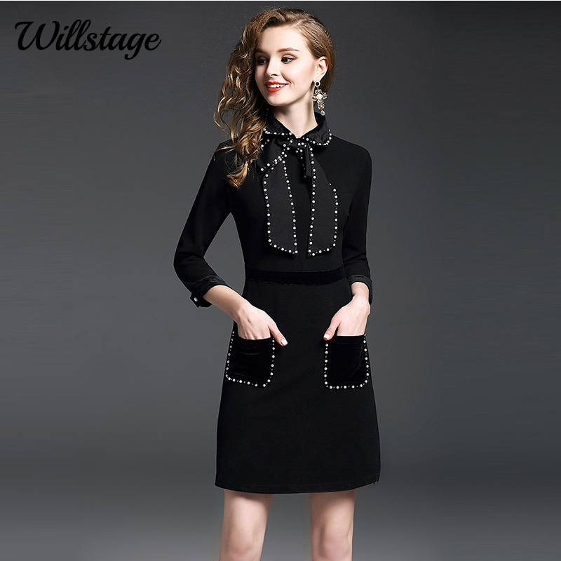 ef081c28bbf Willstage Women Dress Beading Long Sleeve Bow Lace up A-Line Dresses  Pockets High quality
