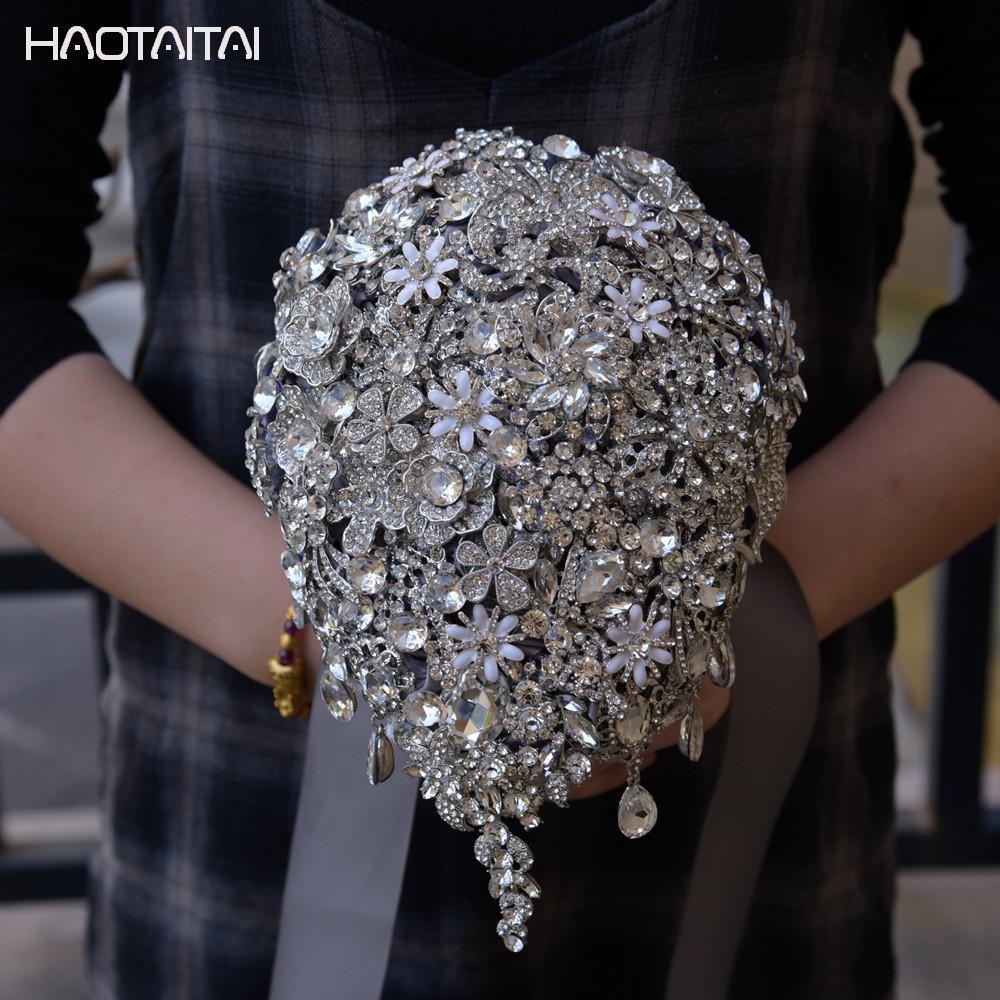 Серебряный Свадебный букет Лидер продаж атласные розы с бусинами и стразами свадебные аксессуары Buque De Noiva 2018 Новый