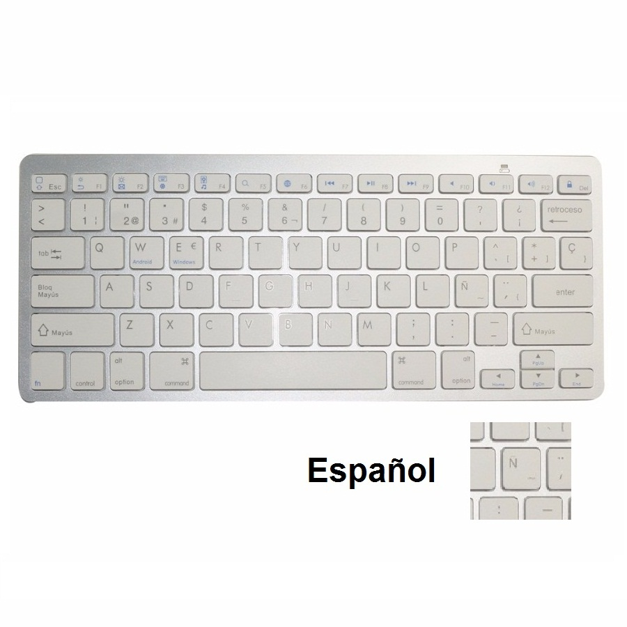QUWIND Spanish Bluetooth Wireless Keyboard For IPad PC Notebook Laptops White