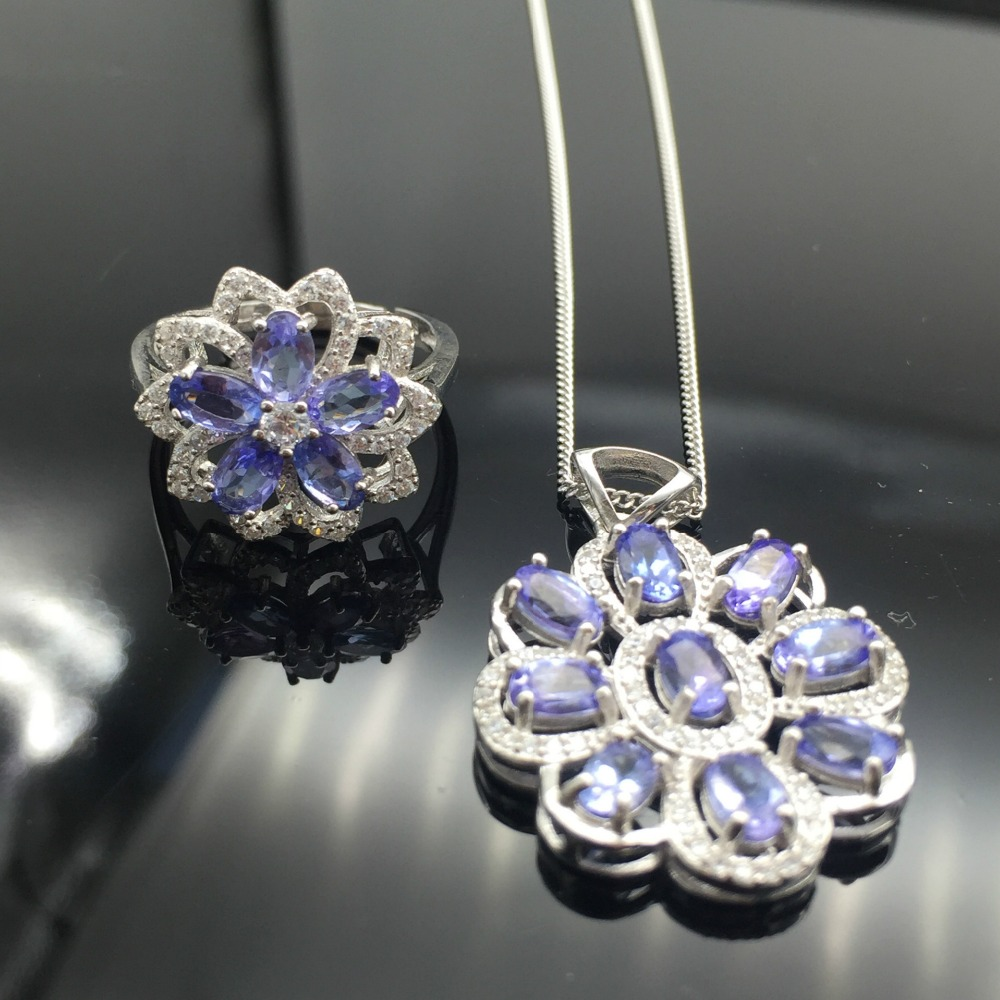 Jewelry romantic tanzanite heart jewelry set natural tanzanite silver ring pendant jewelry set solid silver jewelry set alloy panda pendant jewelry set