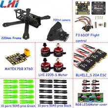 Zangão quadcopter FPV 700TVL câmera profissional LHI 20A + 2205_S X220 Mini Drone Brushless Motor com Mateck XT60