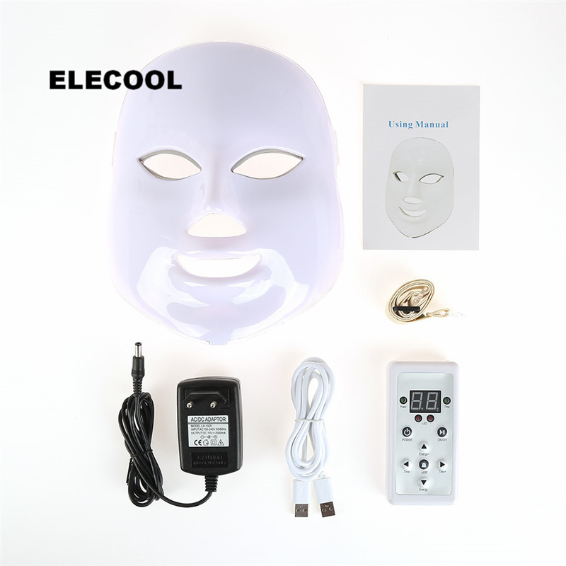 ELECOOL 7/3 Colors LED Facial Mask LED Photon Facial Mask Rejuvenation Wrinkle Removal Beauty Effective Treatment For Skin Care beurha facial mask led photon wrinkle acne removal beauty spa facial care led device skin rejuvenation electrical skin care tool