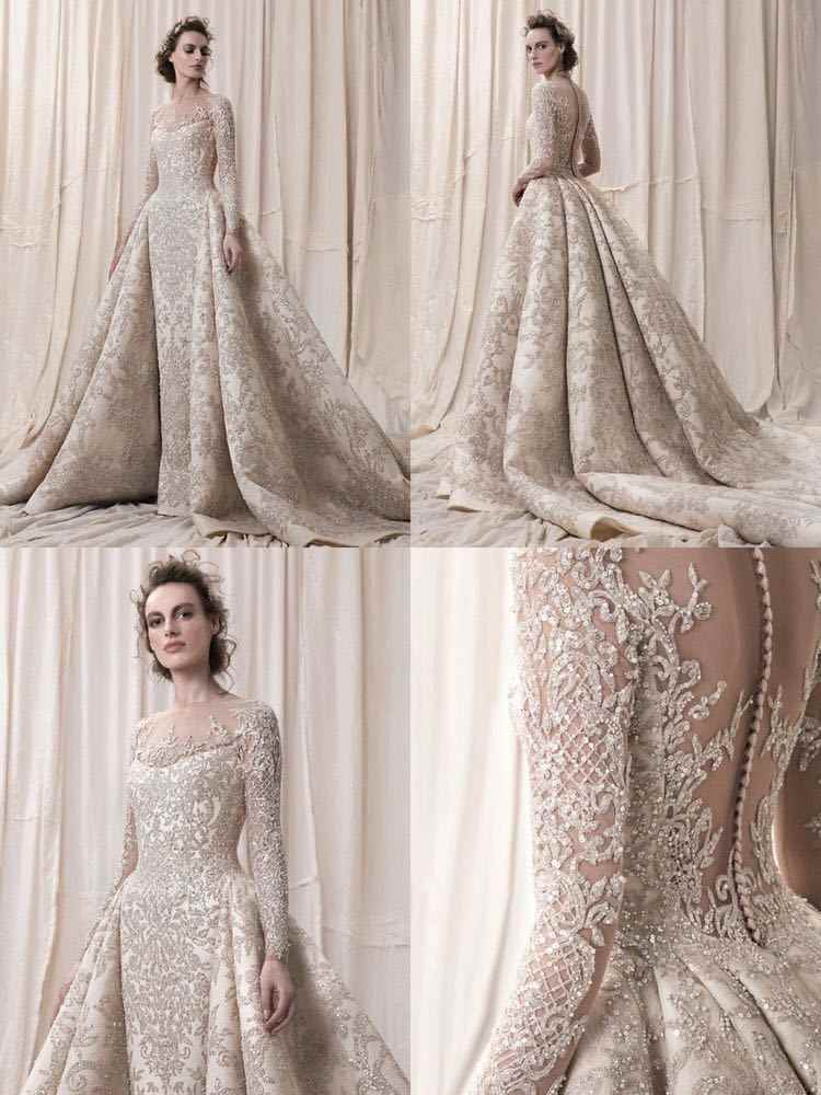 2 In 1 Luxurious Long Sleeves Lace Wedding Dress Full Beading And Crystals High Quality Back With Buttons Sexy Wedding Dresses