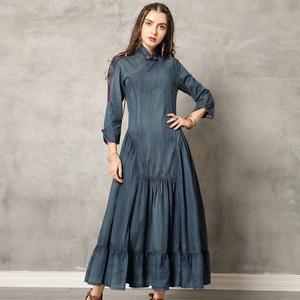 Image 5 - 2019 été femmes couleur unie Patchwork Burr robes nouveau décontracté Simple ample Mandarin col taille haute longues robes en Denim