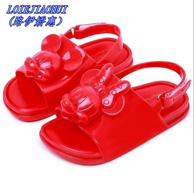 659bb7c743d47 Mini Melissa 2018 Mickey Minnie Children soft shoes Super Cute girls Jelly  Sandals Princess Shoes kids Anti Skid Beach Sandals