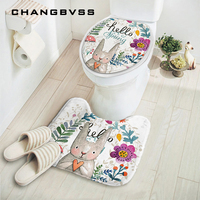 2pcs Set New Cut Cartoon Rabbit Animal Pattern Bathroom Set Carpet Absorbent Non Slip Pedestal Rug
