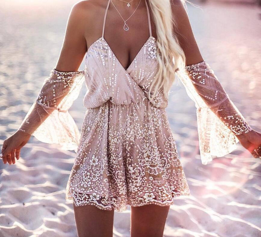 Lace beach Jumpsuit New Women Summer flare sleeve Vintage Paillette Short V neck casual playsuits for womens jumpsuits