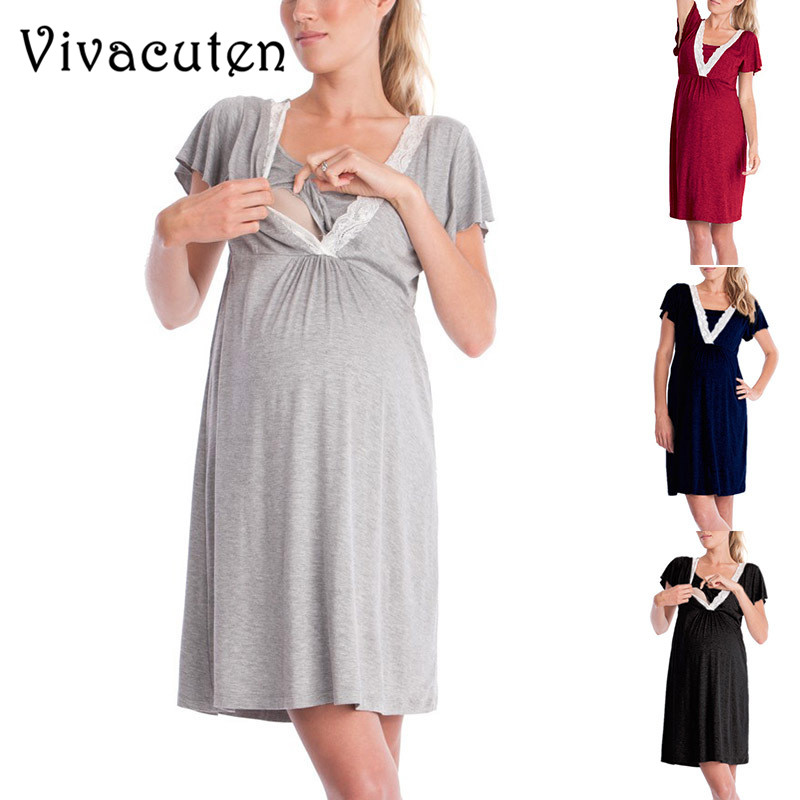Summer Casual Pregnancy Dress Lace Maternity Sleepwear Nursing Dress Comfortable Maternity Clothes for Pregnant Women Dress M41
