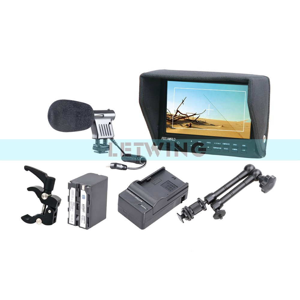 FEELWORLD FW7D/O 7HDMI On-Camera Field HD Monitor + NP-F970 Battery w/Charger + 11 Magic Arm+ Super Clamp + Microphone