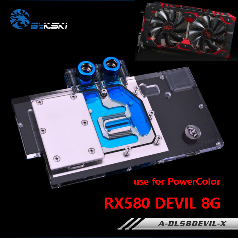 BYKSKI Water Block utilizza per PowerColor RX580 Red DEVIL 8G RX590 / Scheda video Scheda grafica a copertina integrale Copper Radiator Block RGB